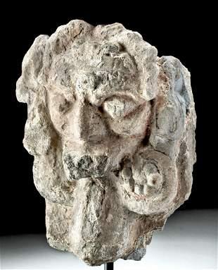 Rare Maya Stucco Stone Wind Deity, Ex Denver Museum