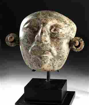 Stunning Maya Greenstone Mask w/ Earspools