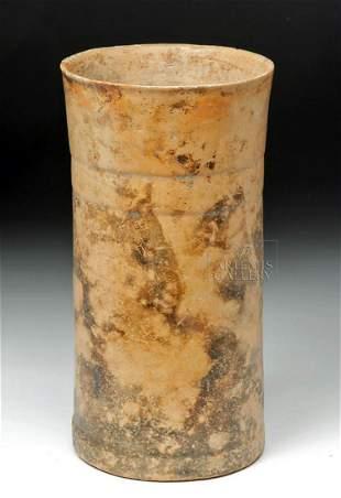 Very Large Guatemalan Mayan Orangeware Cylinder