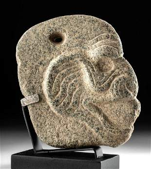 Superb Maya Granite Hacha Monkey Head