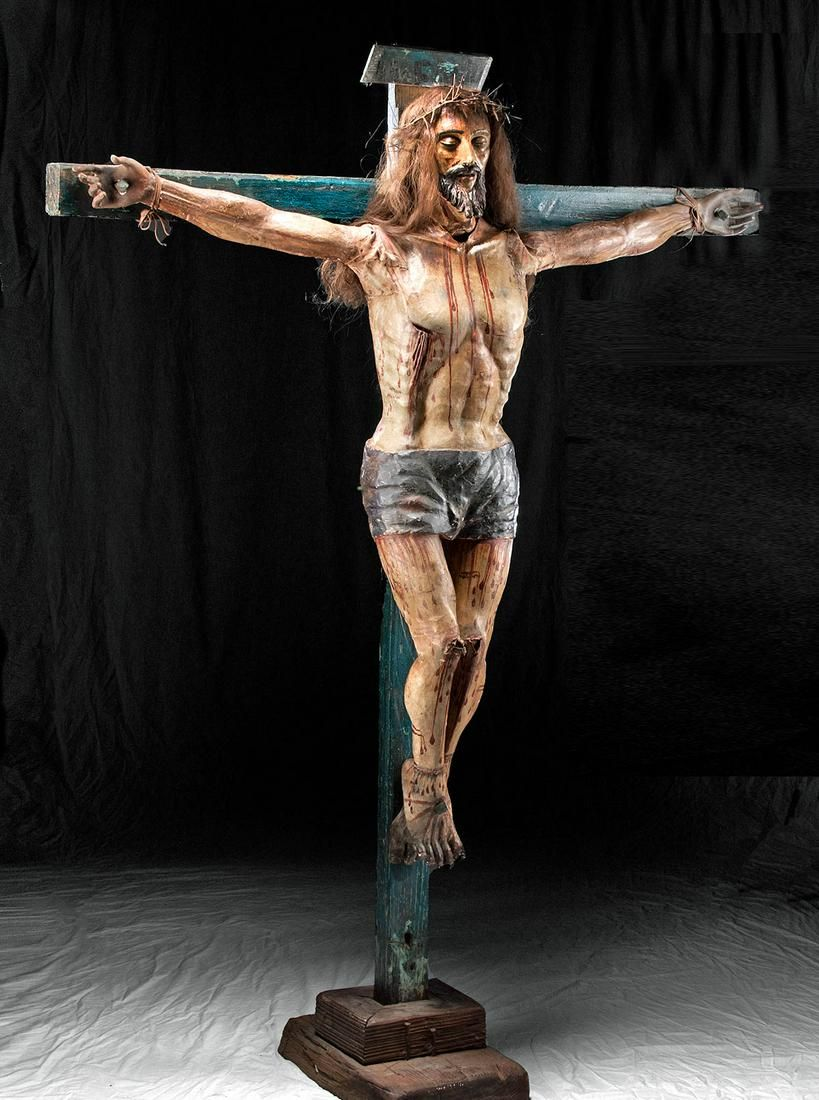 Lifesize 18th C. Spanish Colonial Painted Wood Crucifix