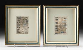 2 Framed 15th C. European Illuminated Manuscript Pages