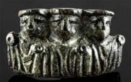 Roman Leaded Bronze Attachment w/ Three Busts