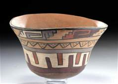 Nazca Polychrome Bowl w/ Abstract Faces & Linear Motifs