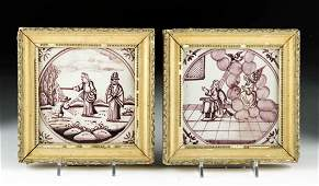 Lot of Two 18th C. Delft Purple Glazed Tiles