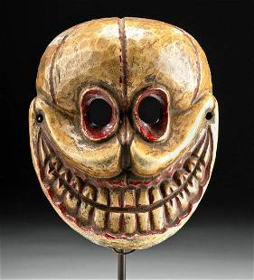 19th C. Nepalese Wood Mask of Citipati Skeletal Deity