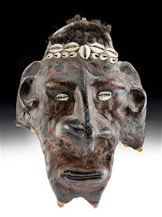 Early 20th C. Papua New Guinea Cow Skull Mask w/ Shells