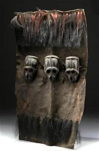 19th C. Naga Headhunter's Shield w/ Wood Monkey Skulls