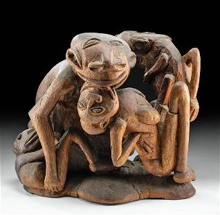 Early 20th C. Tahitian Wood Statue 5 Erotic Figures
