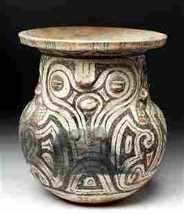 9th C. Marajoara Urn Woman w/ Owl Features