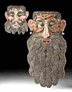 20th C. Mexican Guerrero Painted Copper Masks (pr)
