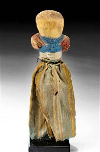 20th C. South American Pilagas Bone Doll w/ Textiles