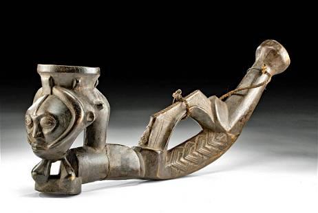 19th C. African Kuba Figural Wood Pipe