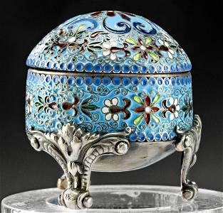 19th C. Russian Cloisonne Silver Lidded Jar w/ Feet