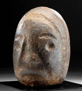 Rare / Large Pre-Columbian Pukara Stone Janiform Head