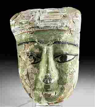 Egyptian Painted Gesso / Cedar Sarcophagus Mask