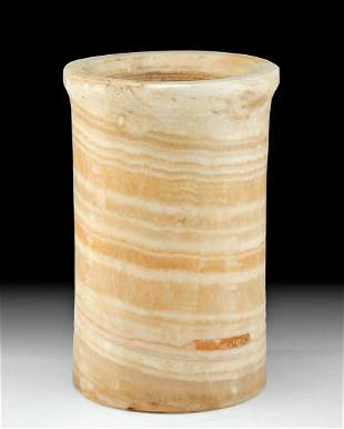 Beautiful Egyptian Late Dynastic Banded Alabaster Jar