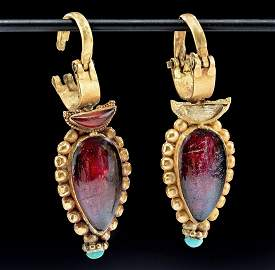 Published Greek Gold Earrings  w/ Garnet & Turquoise