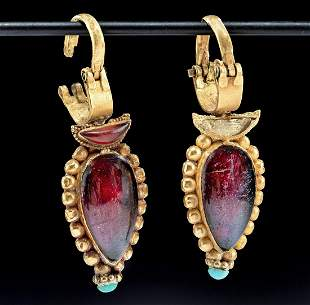 Published Greek Gold Earrings  w/ Garnet & Turquoise