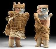 Rare Chancay Polychrome Figures Male, Female TL'd