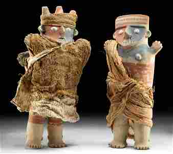 Rare Chancay Polychrome Figures Male, Female TL'd