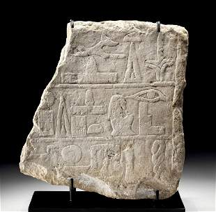 Translated Egyptian Limestone Offering Stele