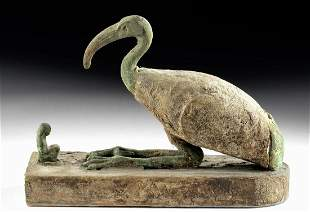 Egyptian Gesso'd Wood / Bronze Sacred Ibis + Worshipper