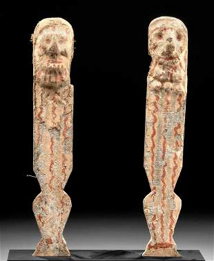 Fine Egyptian Late Dynastic Polychrome Wood Legs (pr)