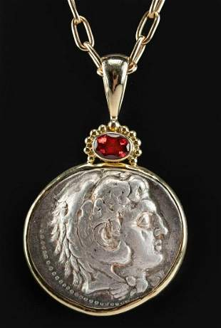 18K Gold Necklace w/ Alexander Tetradrachm