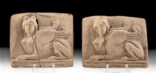 Greek Hellenistic Terracotta Plaques w/ Sphinx (pr)