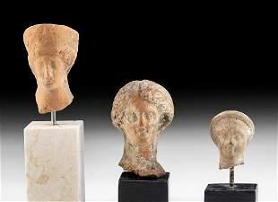 Lot of 3 Greek Hellenistic Terracotta Votive Heads