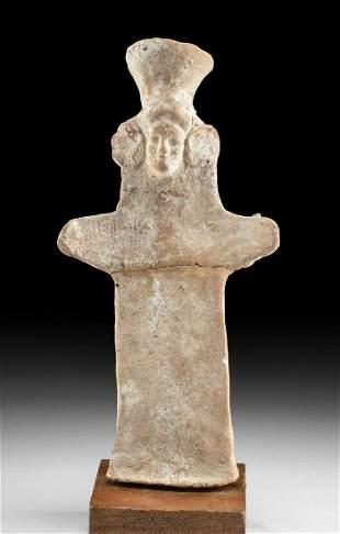 Greek Pottery Female Idol Figure w/ Polos