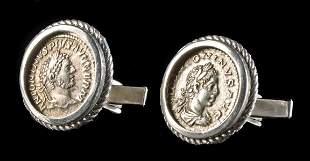 Caracalla & Elagabalus Roman Silver Denarius Cufflinks