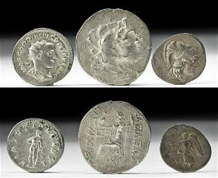 Lot of 3 Ancient Roman & Greek Silver Coins