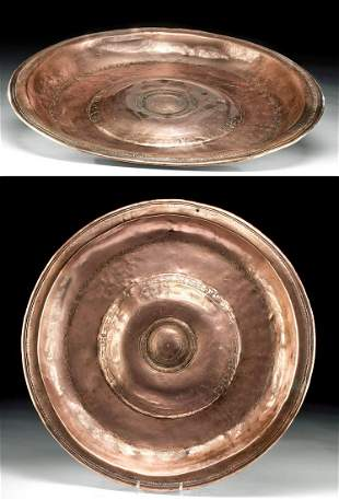16th C. German Copper Alms Plate w/ Double Headed Eagle