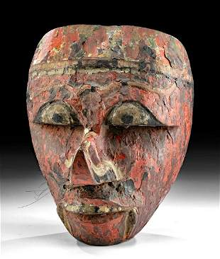 Early 20th C. Javanese Wood Dance Mask Depicting Klana