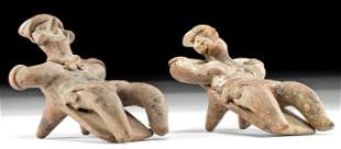 Lot of 2 Colima Pottery Reclining Figures