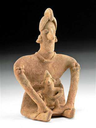 Charming Colima Terracotta Seated Mother & Child