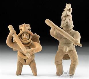 Lot of 2 Colima Pottery Warrior Shaman Figures