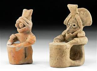 Two Colima Pottery Drummer Whistles