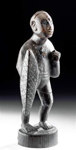 Early 20th C. African Wood Nkisi Figure w/ Shield