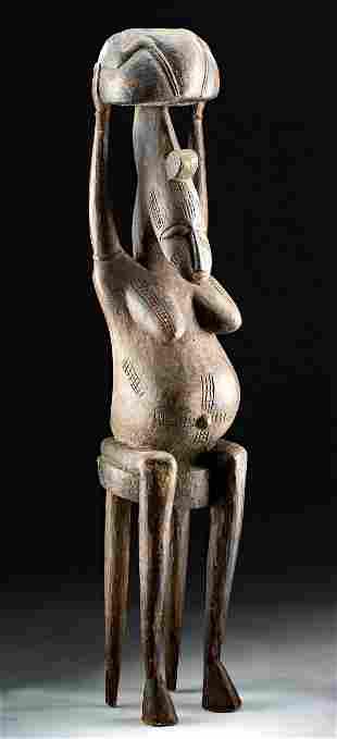 Early 20th C. African Bamana Wood Fertility Figure