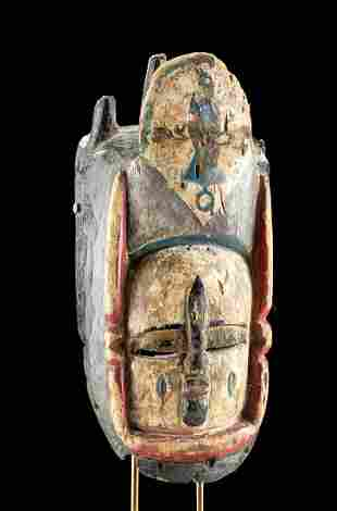 Early 20th C. Nigerian Bini Polychrome Wood Mask