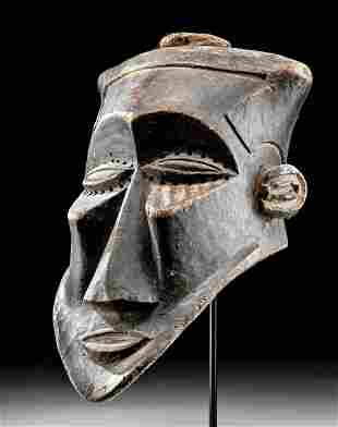 Huge 20th C. Kuba Wood Initiation Mask