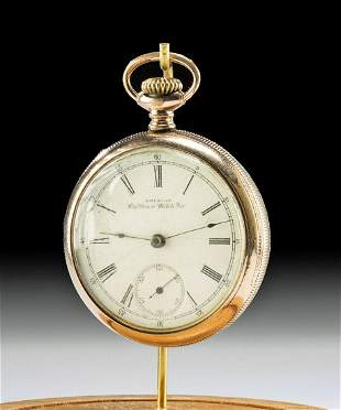 19th C. American Waltham Gilded Brass Pocket Watch