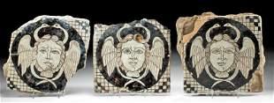 Three 18th C. European Ceramic Tiles w/ Medusa