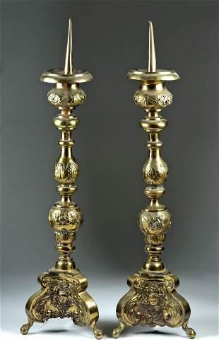 18th C. Italian Brass Prickets / Altar Candlesticks