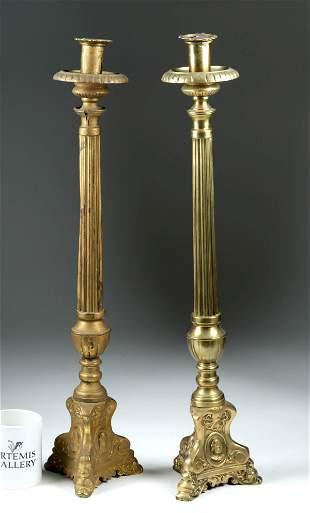 Tall 18th C. Italian Baroque Brass Candlestick Holders