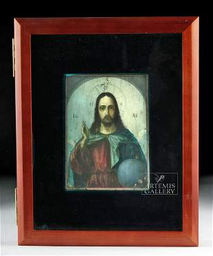 2-Sided 19th C. Russian Icon - Christ & Mother of God