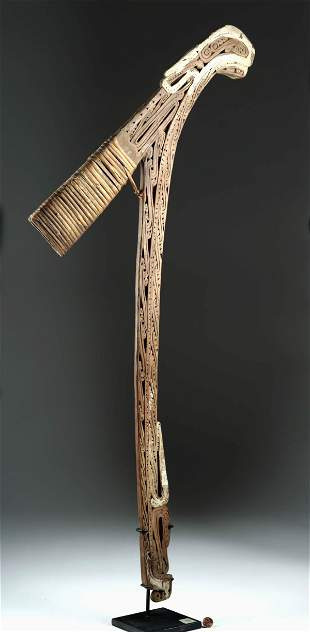 20th C. PNG Milne Bay Wood Axe Handle Ornate Details